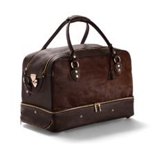 Portofino Rolling Travel Bag in Brown Calfskin & Brown Haircalf