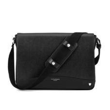 Anderson Large Messenger Bag in Black Saffiano