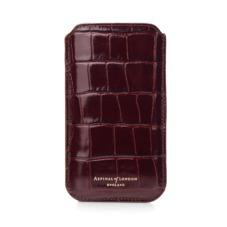 iPhone 6 Plus Leather Sleeve in Deep Shine Amazon Brown Croc