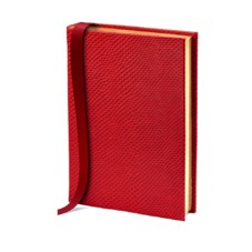 A6 Leather Journal in Red Lizard with Plain Pages