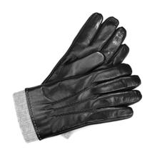 Mens Leather Gloves with Knitted Cuff in Black Nappa & Grey Knit