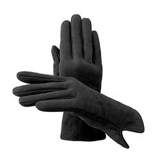 Ladies' Sheepskin Lined Suede Gloves in Black Suede
