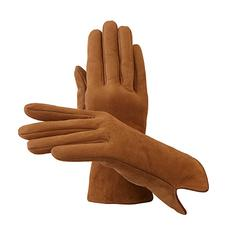Ladies' Sheepskin Lined Suede Gloves in Tan Suede