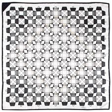 Marylebone Geometric Silk Scarf in Monochrome