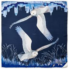 Owl in the City Silk Scarf in Navy & Cobalt Blue