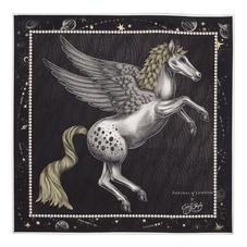 Pegasus Feather Silk Twill Scarf in Monochrome (27.5