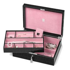 Grand Luxe Jewellery Case in Deep Shine Black Croc & Pink Suede