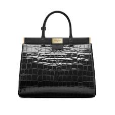 Large Florence Snap Bag in Deep Shine Black Croc & Smooth Black