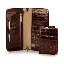 Zipped Travel Wallet with Passport Cover in Deep Shine Amazon Brown Croc & Stone Suede