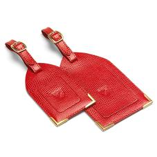 Set of 2 Luggage Tags in Berry Lizard