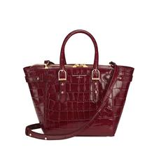 Mini Marylebone Tote in Deep Shine Bordeaux Croc