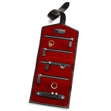 Travel Jewellery Roll in Jet Black Lizard & Red Suede