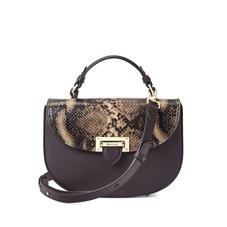 Letterbox Saddle Bag in Smooth Dark Brown & Tan Snake Print