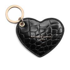 Heart Keyring in Black Croc