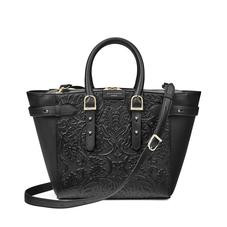 Midi Marylebone Tech Tote in Black Embossed Flower