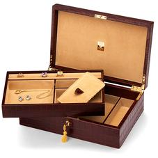 Savoy Jewellery Case in Deep Shine Amazon Brown Croc & Stone Suede