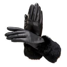 Ladies Fur Cuffed Gloves in Black