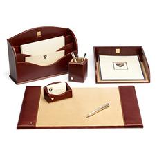 Chairman's Desk Set in Smooth Cognac & Stone Suede
