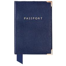 Passport Cover in Navy Lizard