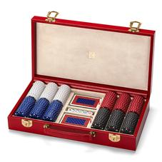 300 Chip Leather Poker Set in Berry Lizard