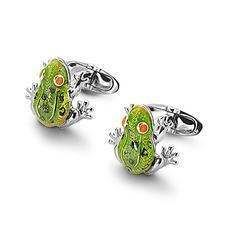 Sterling Silver & Enamel Frog Cufflinks