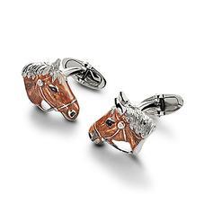 Sterling Silver & Enamel Horse Cufflinks