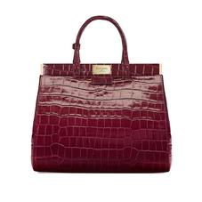 Large Florence Snap Bag in Deep Shine Bordeaux Croc