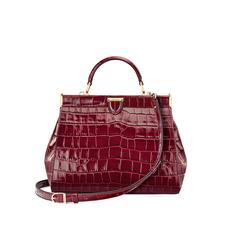 Small Florence Frame Bag in Bordeaux Croc