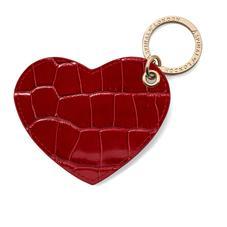 Heart Keyring in Deep Shine Red Croc