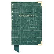 Passport Cover in Deep Shine Sage Small Croc