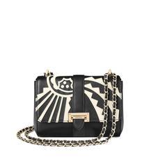 Small Lottie Bag in Ivory Deco Applique & Smooth Black