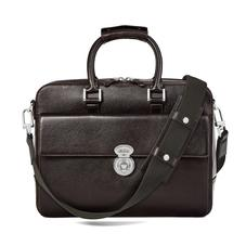 Aerodrome Business Bag in Dark Brown Pebble