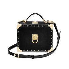 Lion Mini Trunk Clutch in Black Velvet & Deep Shine Croc with Studs