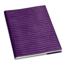 A4 Refillable Leather Journal in Deep Shine Amethyst Small Croc