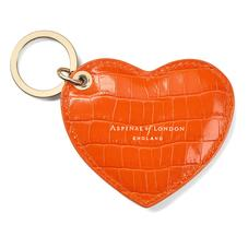 Heart Key Ring in Deep Shine Amber Small Croc