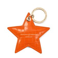 Star Keyring in Deep Shine Amber Small Croc