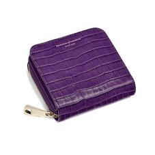 Mini Continental Zipped Coin Purse in Deep Shine Amethyst Small Croc