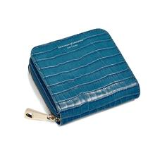 Mini Continental Zipped Coin Purse in Deep Shine Topaz Small Croc