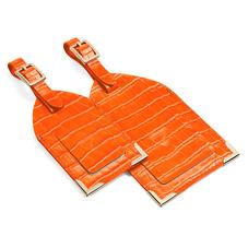 Set of 2 Luggage Tags in Deep Shine Amber Small Croc
