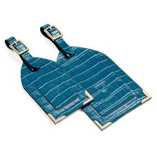 Set of 2 Luggage Tags in Deep Shine Topaz Small Croc