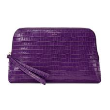 Large Essential Cosmetic Case in Deep Shine Amethyst Small Croc