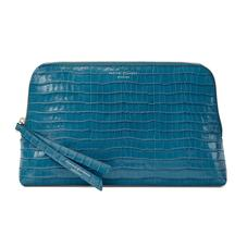 Large Essential Cosmetic Case in Deep Shine Topaz Small Croc