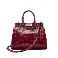 Small Florence Snap Bag in Deep Shine Bordeaux Croc