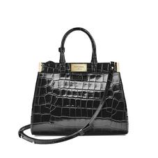 Small Florence Snap Bag in Deep Shine Black Croc