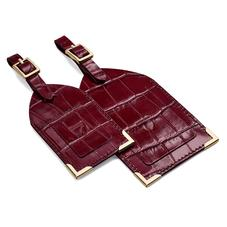 Set of 2 Luggage Tags in Deep Shine Bordeaux Croc