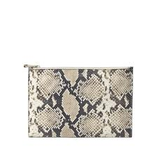 Large Essential Flat Pouch in Embossed Natural Python Print