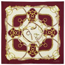 Horseshoe Silk Scarf in Burgundy