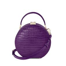 Mini Hat Box Bag in Deep Shine Amethyst Small Croc