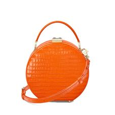 Mini Hat Box Bag in Deep Shine Amber Small Croc