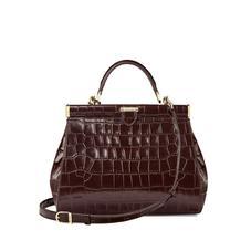 Small Florence Frame Bag in Deep Shine Amazon Brown Croc